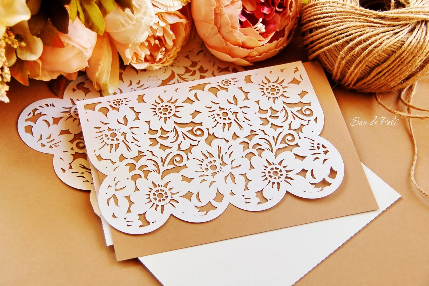 Peony Lace Wedding invitations Card Envelope Template cutting Etsy
