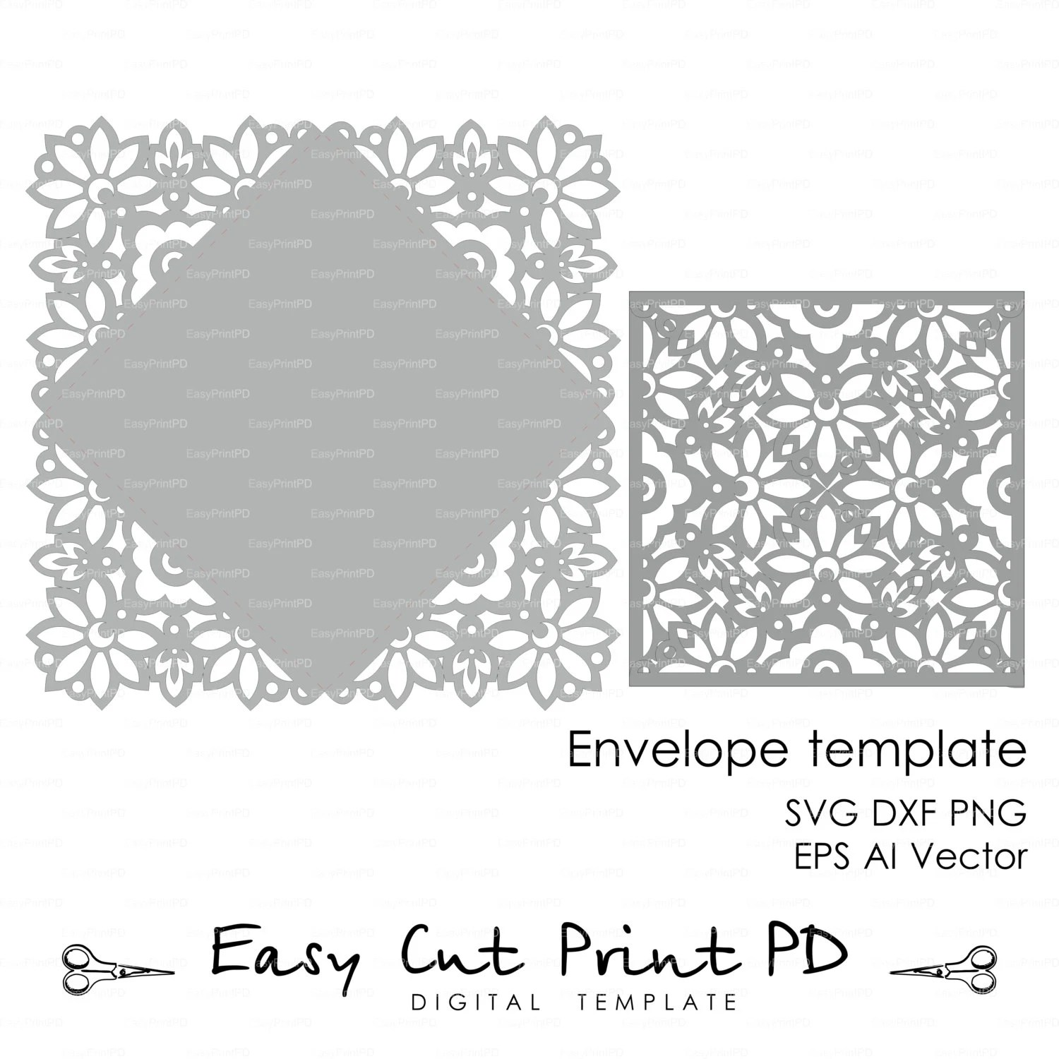 Wedding invitation Card Envelope Template Lace folds COVER Etsy