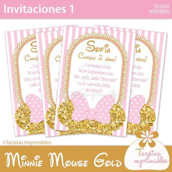 Minnie Mouse gold  pink tarjetas de invitación para imprimir Etsy - formato para invitacion