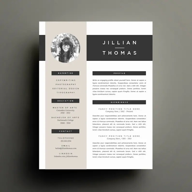 Creative Resume Template and Cover Letter Template for Word Etsy