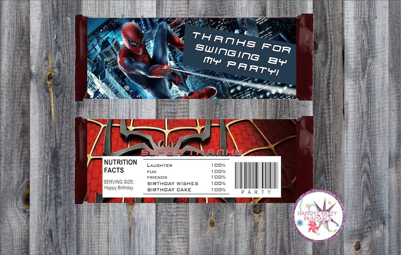 Spiderman Candy Bar Wrappers/Birthday Party PRINTABLE Candy Etsy