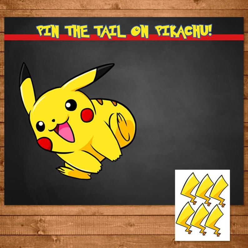 Pokemon Pin The Tail on Pikachu Activity Chalkboard Pokemon Etsy