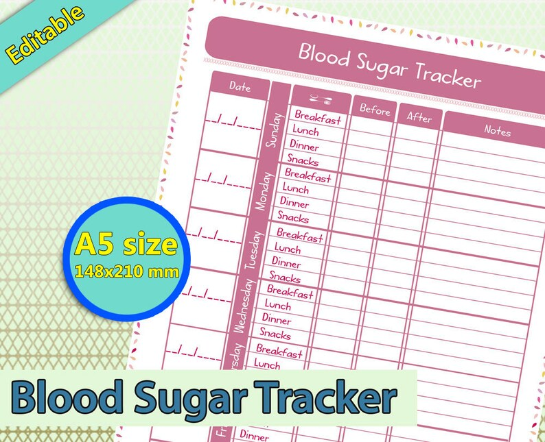 Blood Sugar Tracker Glucose log Diabetes Awareness in A5 size Etsy