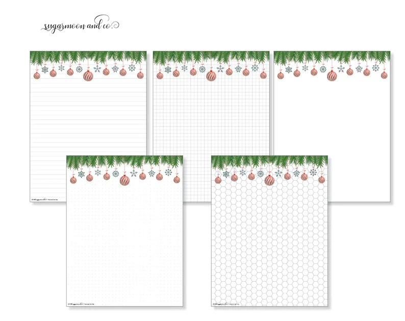 Printable 85x11 Christmas Insert Pages Dot Grid Lines Etsy