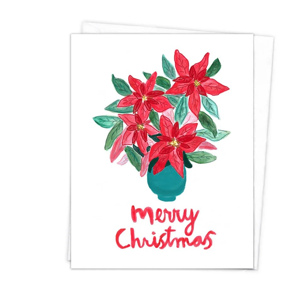 One or more 55 in x 425 in Merry Christmas Poinsettia Card Etsy