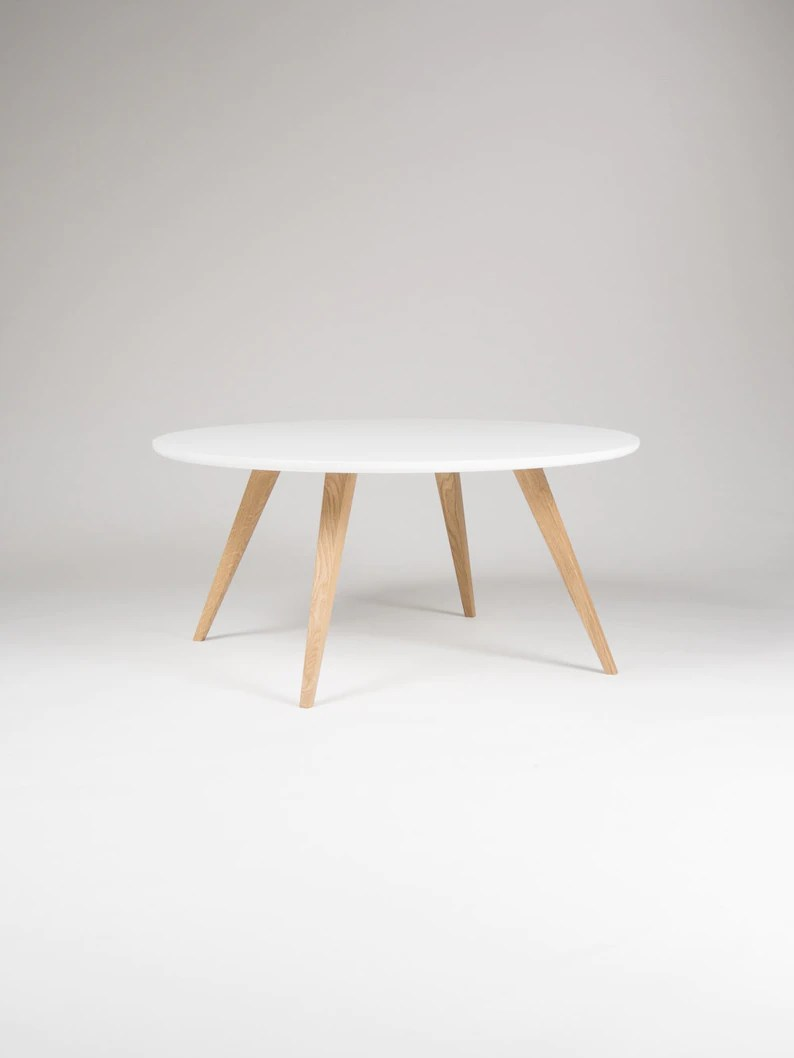 Home Trends 4 You Couchtisch White Round Coffee Table With Solid Oak Legs Scandinavian Design