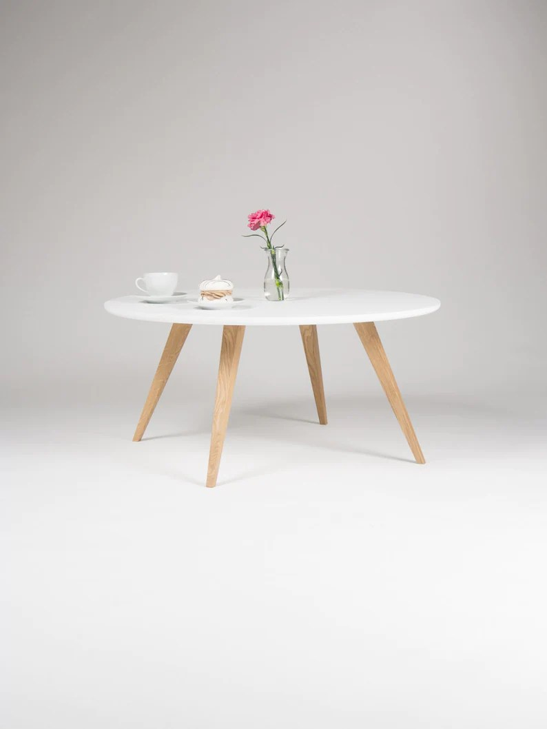 Couchtisch Oak White Round Coffee Table With Solid Oak Legs Scandinavian Design