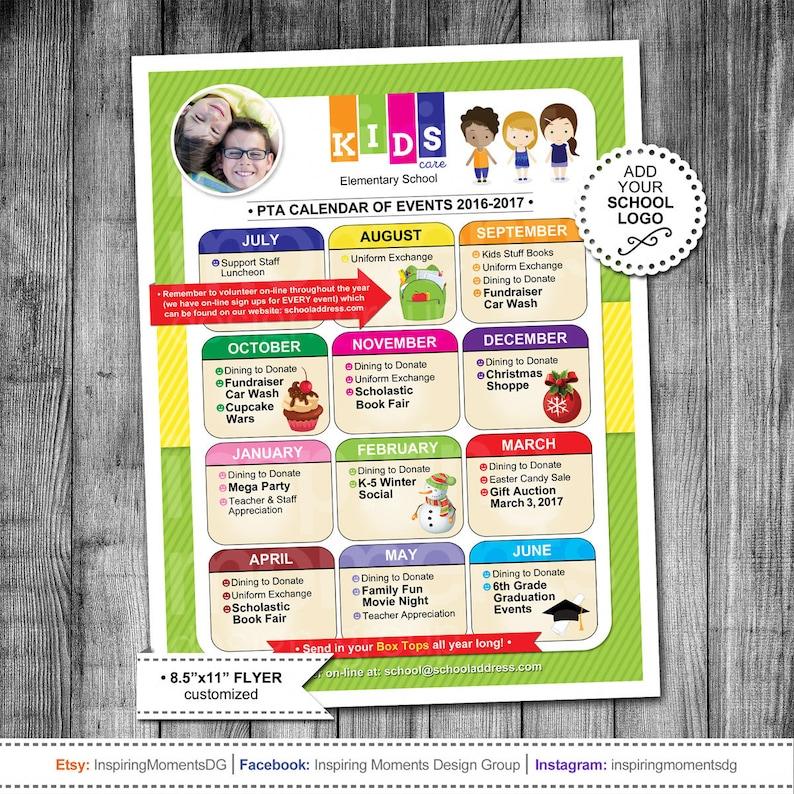 Event Flyer Printable PTA Calendar PTN Calendar School Etsy