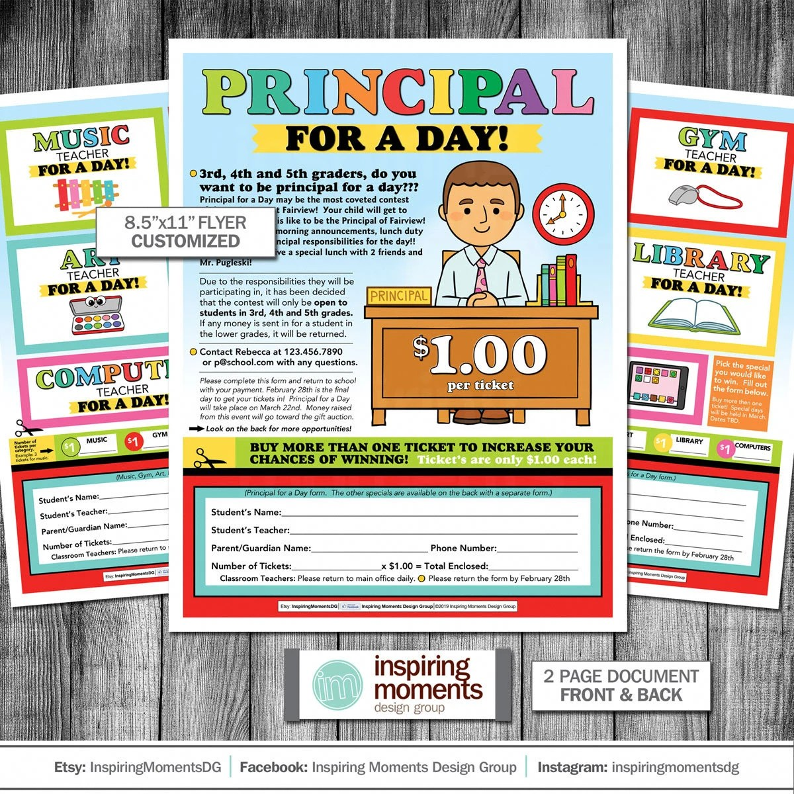 Principal For The Day Flyer Printable Teacher Fundraiser Etsy