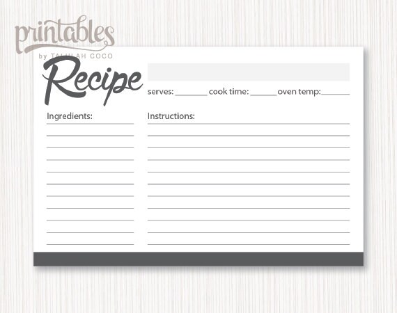 Digital Recipe Cards Editable - Charcoal Gray Recipe Card Template - black and white recipe card template
