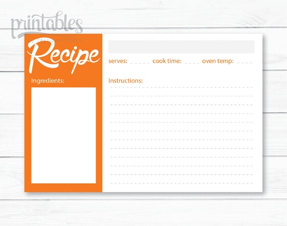 Tangerine Recipe Card Orange Recipe Cards Printable Etsy