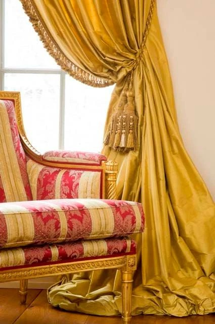 Draping Curtains Brass Silk Curtain Dupioni Silk Yellow Gold Window Dressing Draping Home Decor Interior Curtains Yellow Curtains Dark Yellow