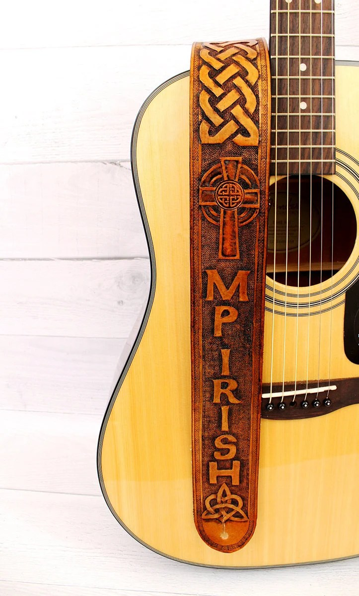 Cross Guitar Book Celtic Cross Leather Guitar Strap Personalized With Name Or Initials Handcrafted Adjustable