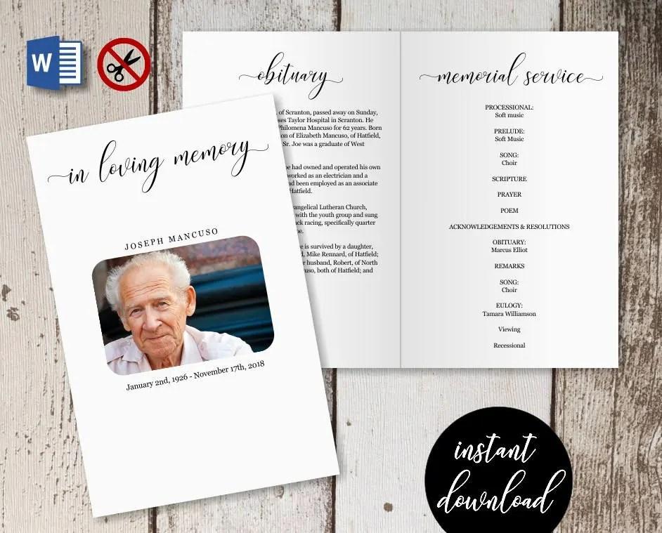 Funeral Program Template Printable Memorial Service Etsy
