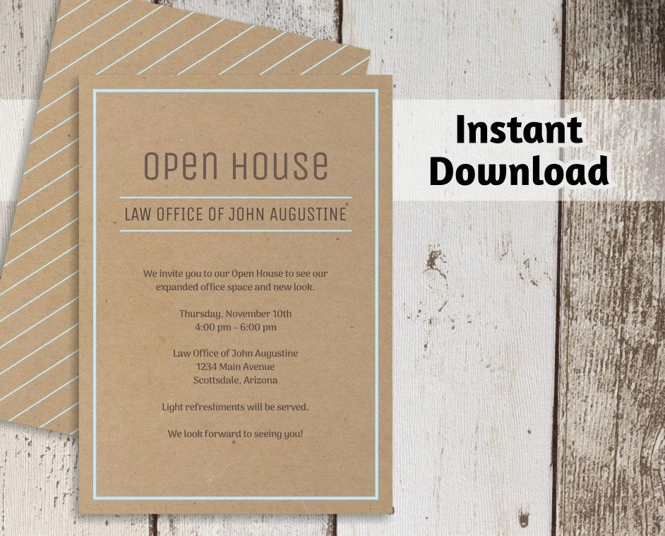 Printable Business Invitation Template Open House Business Etsy
