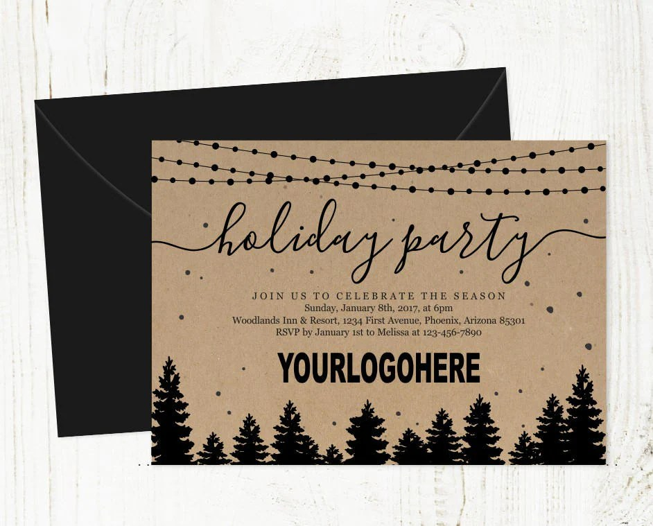 Add Business Logo - Corporate Holiday Party Invitation - Printable