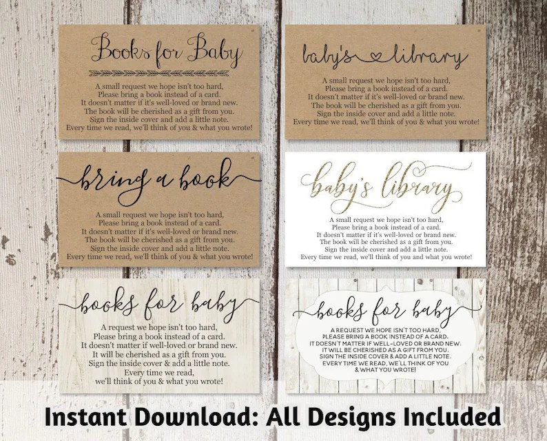 Printable Baby Shower Book Request Bring a Book Instead of a Etsy