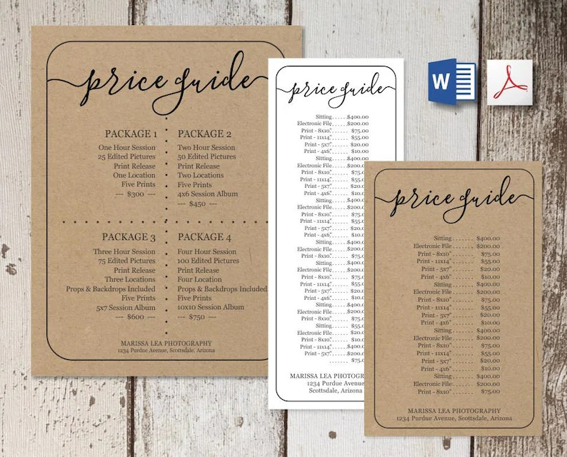 Printable Price List Template NO COLOR INK Word Pdf Etsy