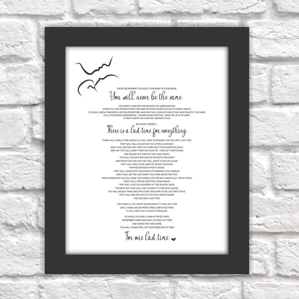 The Last Time Poem Print Printable Baby Shower Mothers Day Etsy