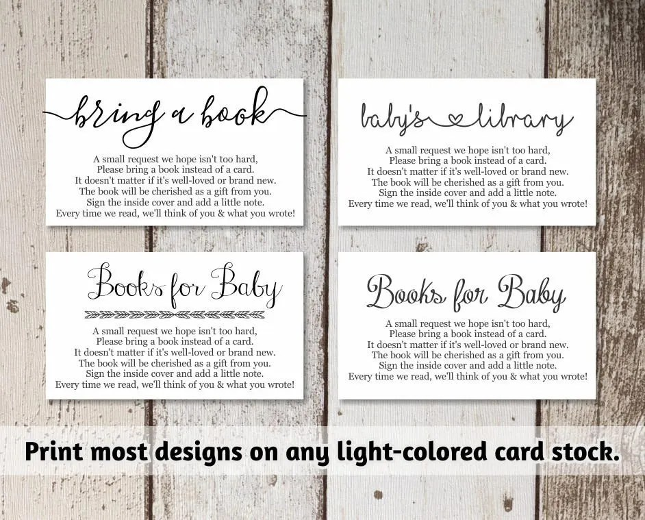 Printable Baby Shower Book Request - Bring a Book Instead of a Card