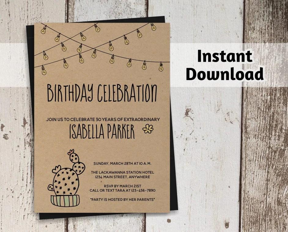 Cactus Birthday Invitation for Women - Printable Template - Rustic