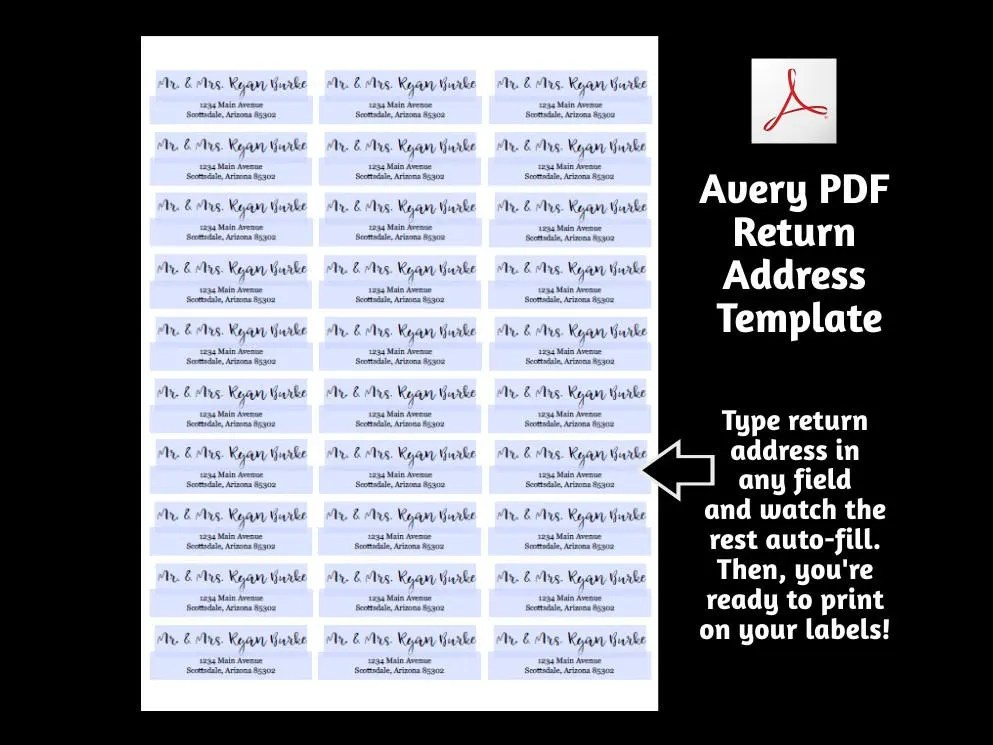 Printable Address Template for Envelope Labels - Avery 2 x 4  1 x 2 - return address template