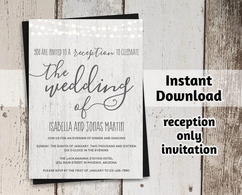 Printable Reception Only Invitation Template - Rustic Fairy Light