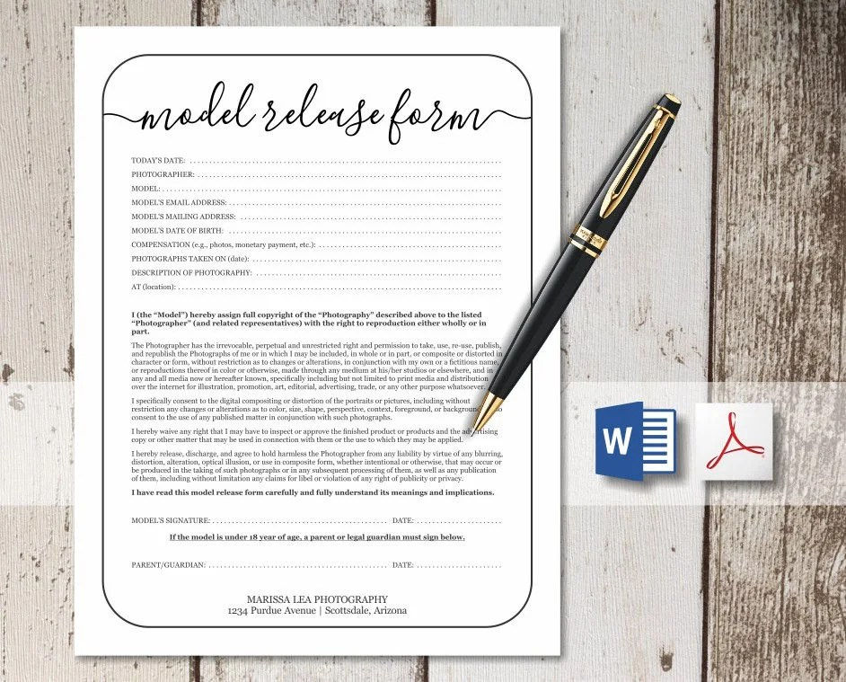 Printable Photography Model Release Form Template Simple Etsy