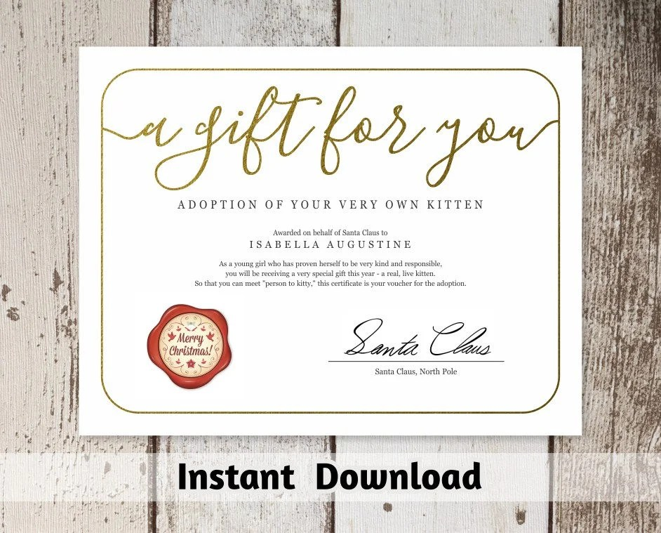 Gift Certificate from Santa Claus Printable Christmas Gift Etsy