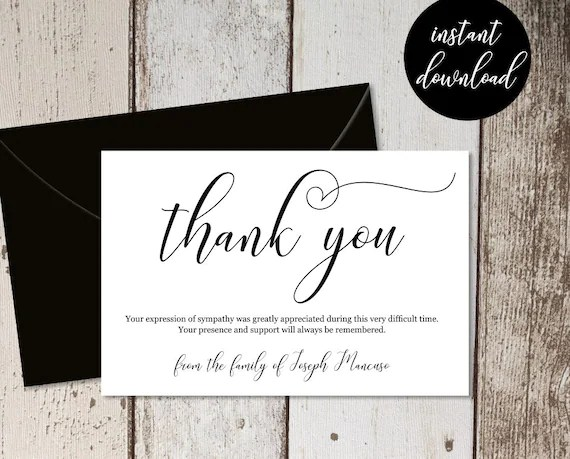 Funeral Thank You Card Template Simple Black  White Etsy
