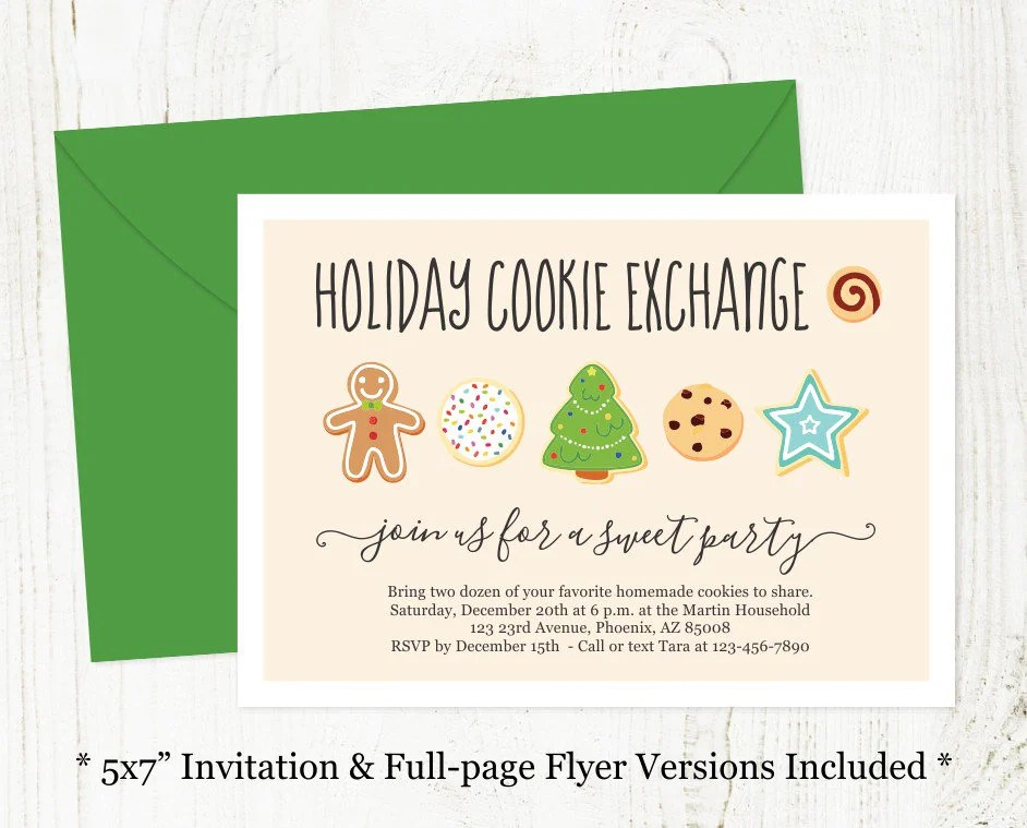 Holiday Cookie Exchange Invitation - Printable Christmas Cookie