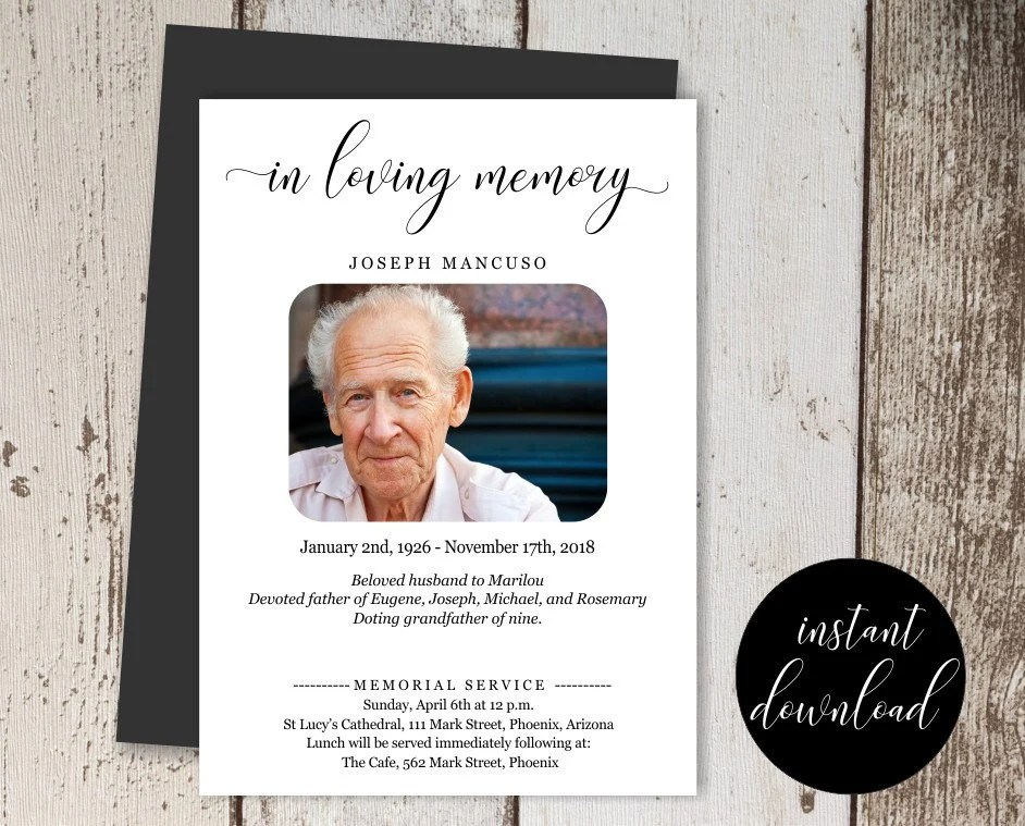 Funeral Announcement Template Printable Memorial Service Etsy