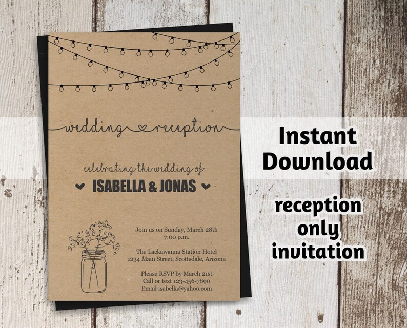 Reception Only Invitation Template Printable Rustic Mason Etsy