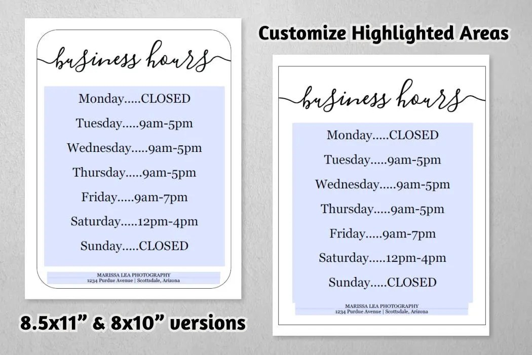 Business Hours Sign, Printable Template, Hours of Operation