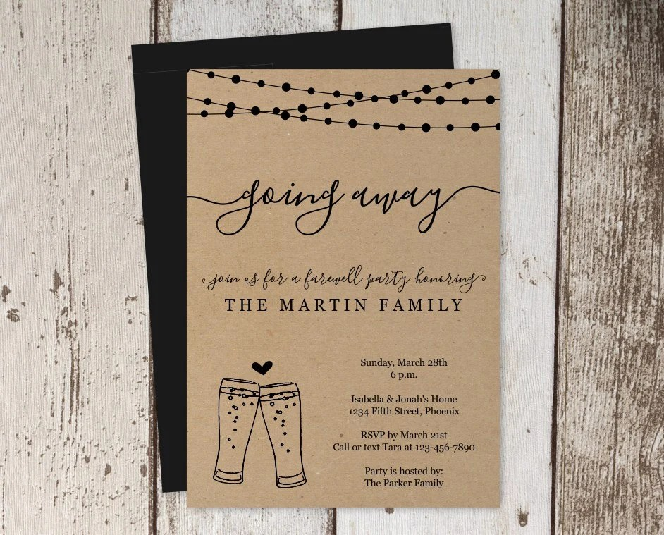 Beer Brewery Going Away Party Invitation Printable Template - Rustic