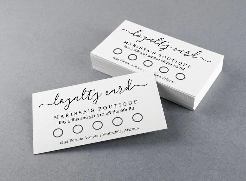 Printable Loyalty Card Template Simple Reward Punch Card Etsy