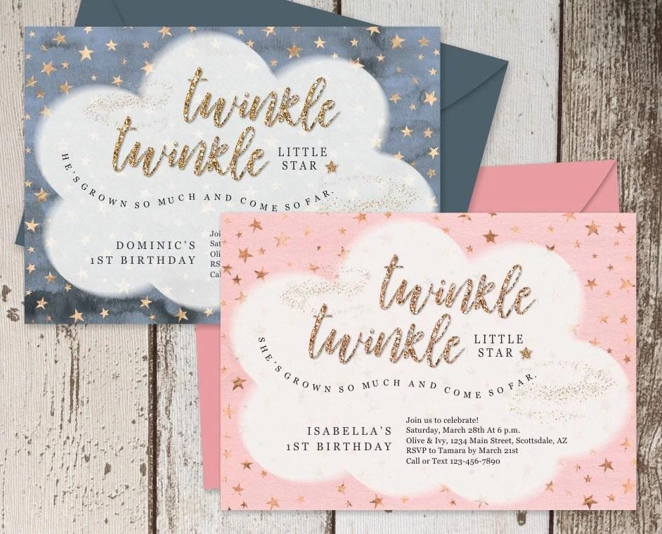 Printable Twinkle Twinkle Little Star Invitation Template Etsy
