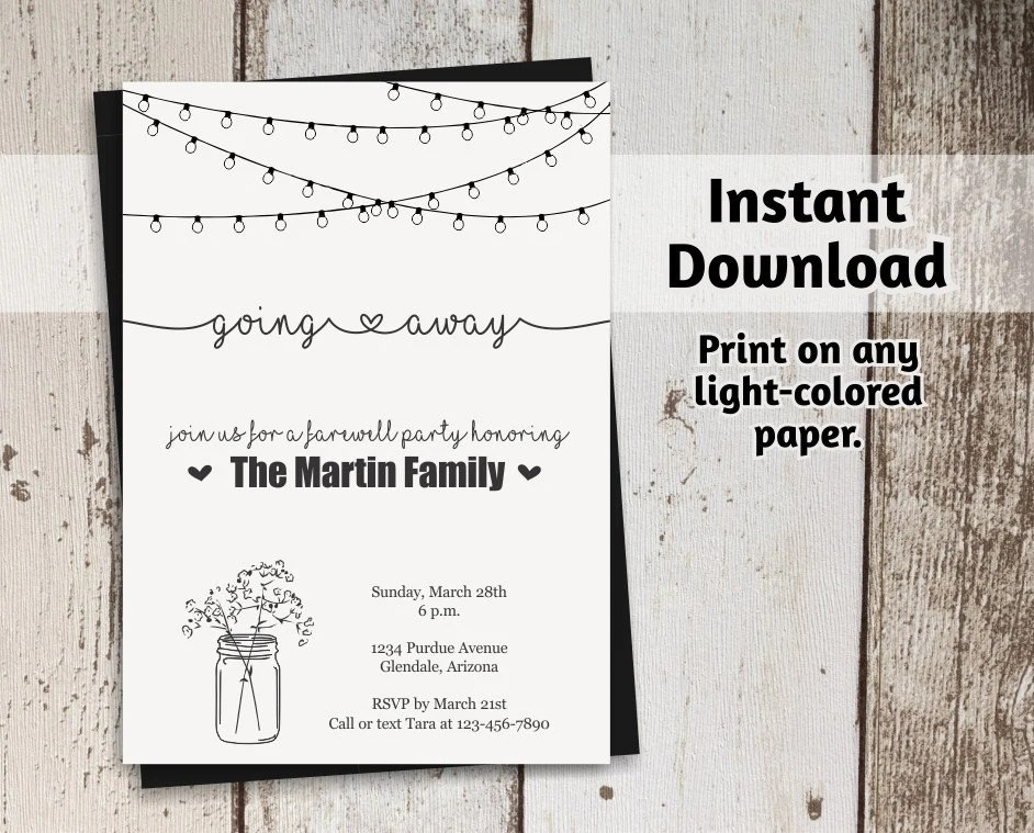Going Away Party Invitation Printable Template - Rustic Mason Jar