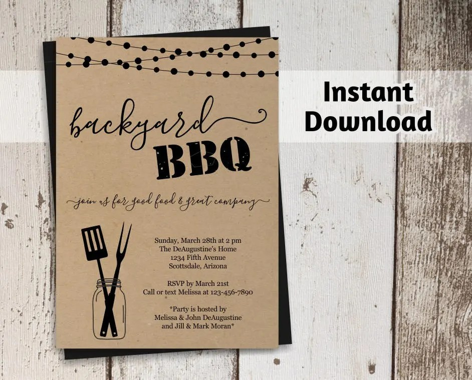Printable Backyard BBQ Invitation Template Barbeque Party Etsy