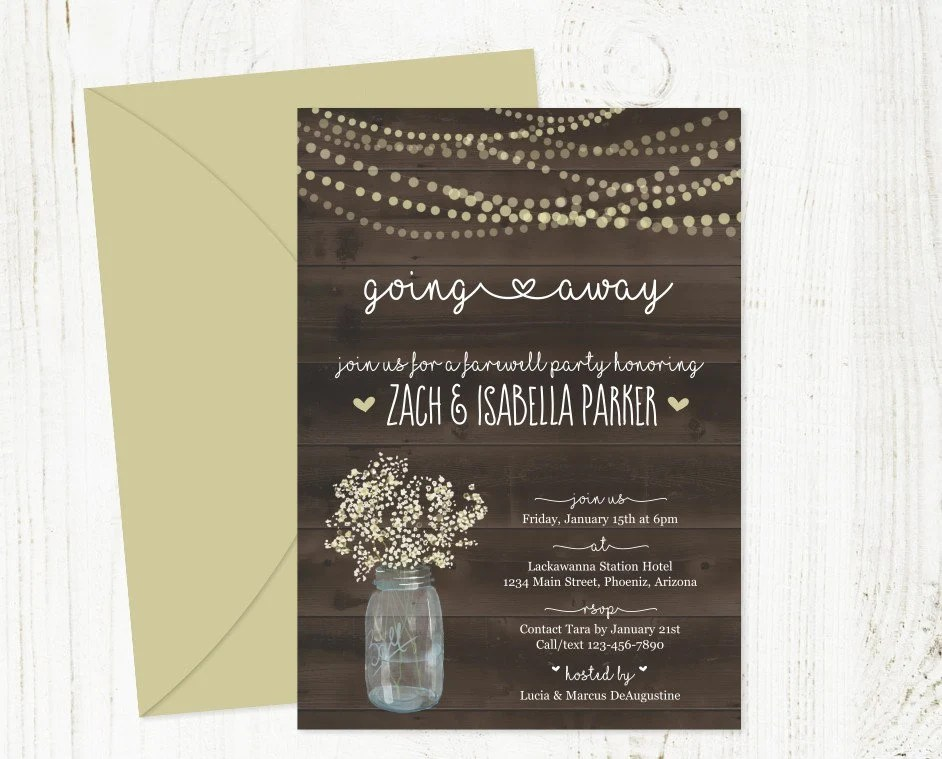 Rustic Going Away Party Invitation Template Printable Etsy