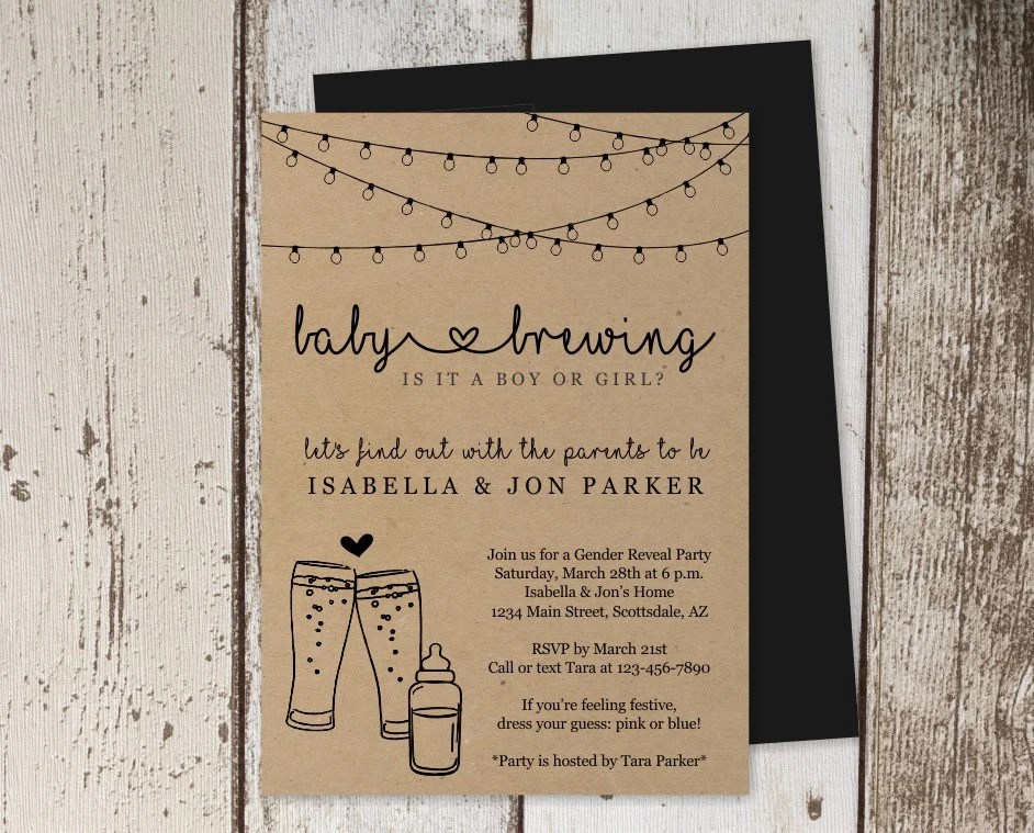 Baby Brewing Gender Reveal Party Invitation Template Etsy