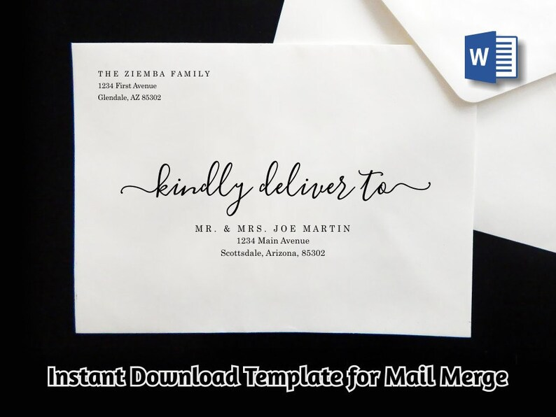 Wedding Address Envelope Template for Microsoft Word Mail Etsy