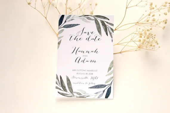SAMPLE Eucalyptus Save the Date Greenery Save the Date Save Etsy