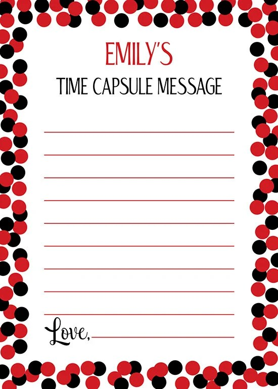 Red 1 Next To Time Capsule Personalized Time Capsule Sign And Message Cards Red And Black Confetti