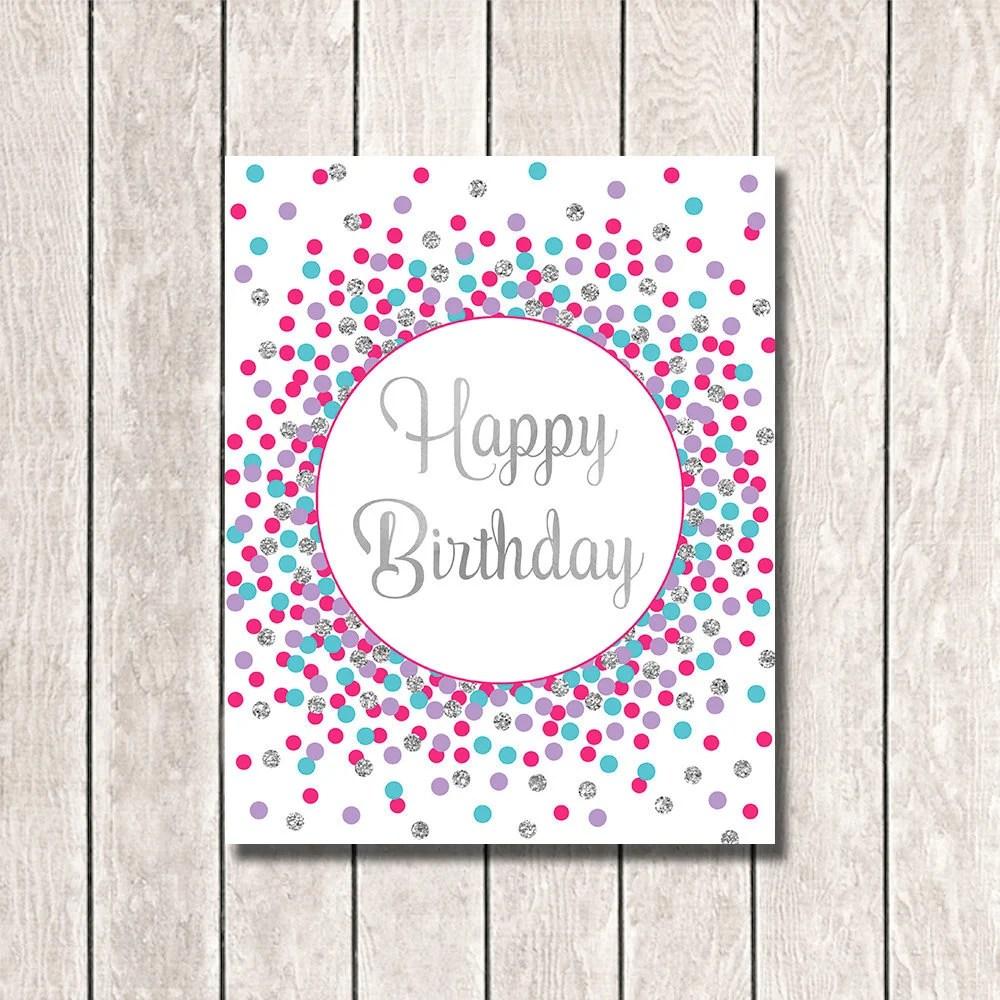 Happy Birthday Sign Printable Happy Birthday Print Hot Pink Etsy