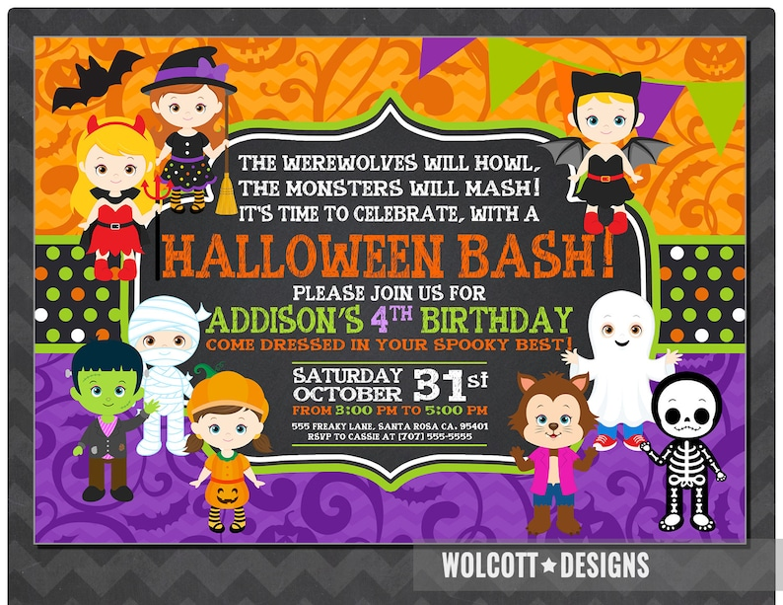 Girls Halloween Party Invitation Kids Halloween Party Etsy
