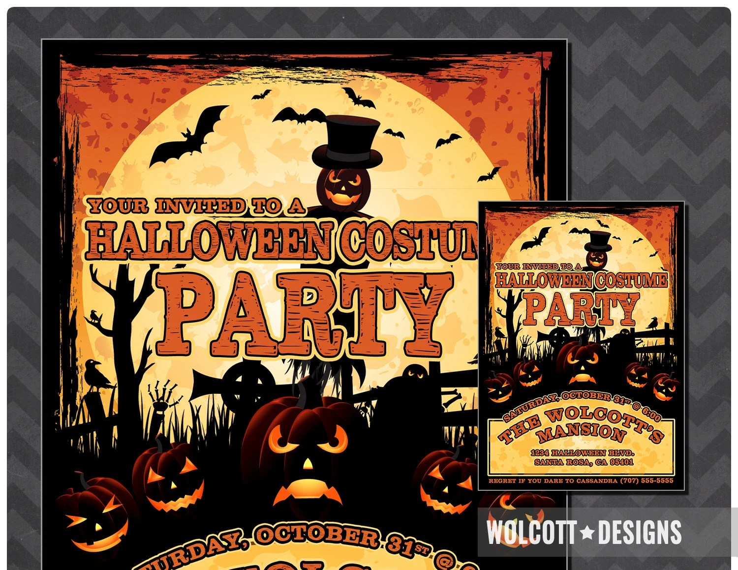 Halloween Costume Party Costume Party Invitation Costume Etsy