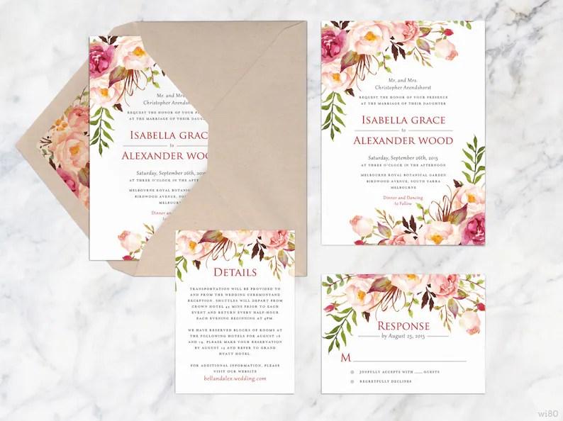 Invitación de boda para imprimir Set otoño boda invitaciones Etsy