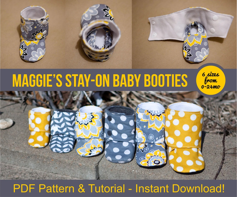 Maggie\u0027s Stay-On Baby Booties Sewing Tutorial Printable Etsy