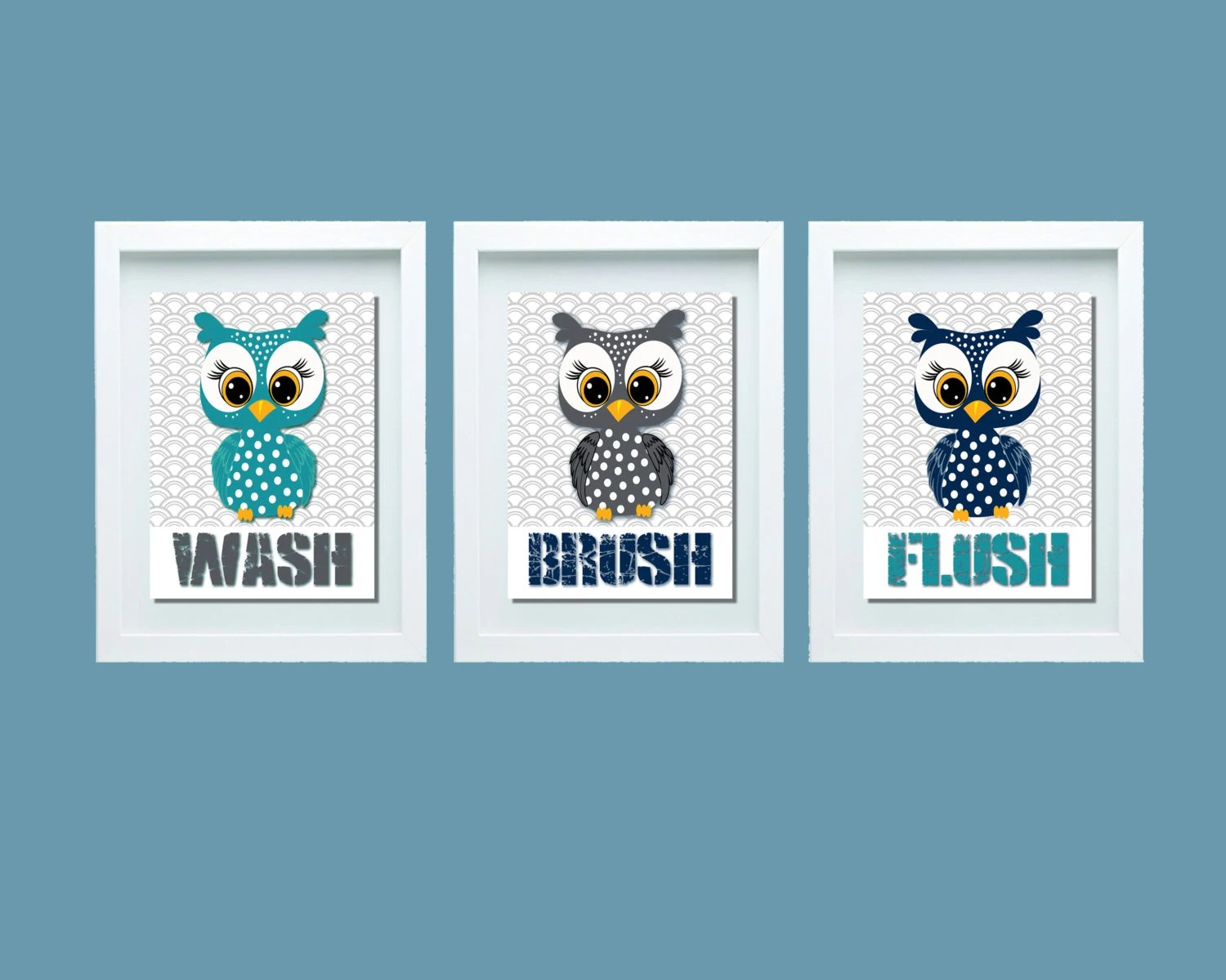 Owl Decor For Bathroom Owl Bathroom Decor Owl Bathroom Set Bathroom Rules Wash Etsy
